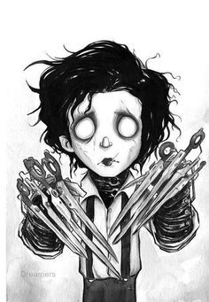 Edward Scissorhands, Tim Burton/ Pinning for Iliah :)~♡ Tim Burton Stil, Tim Burton Kunst, Estilo Tim Burton, Tim Burton Art, Eduardo Scissorhands, Johny Depp, Fan Art, Amazing Art, Awesome