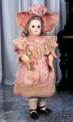 Gorgeous French Bisque Portrait Bebe by Jumeau with Fabulous Costume