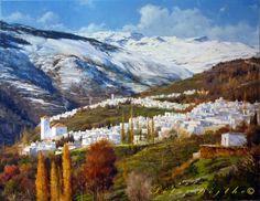 PINTURA PÉTER BOJTHE Granada, Andalucia, Bella, Mountains, Nature, Travel, Water Colors, Art Paintings, Artists