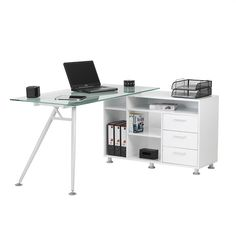 Valencia Corner Glass Computer Desk In Frosted With Satin Legs