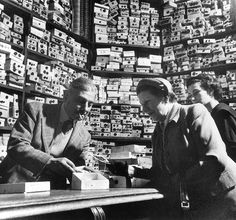 Two women examine buttons at Lock and Company, a shop in Piccadilly, London, in 1953 Photograph: Might have been the inspiration for Olivanders Wand Shop in Harry Potter...