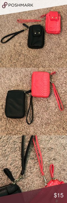 2 Wallet Bundle🎉 2 very cute wallets, one coral color and one black with a phone pocket in the front, both in very good condition! The black one's only flaw is the strap came off so it's now on the zipper but does not affect the wallet.  (pictured) offers welcomed! Bags Clutches & Wristlets