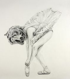 Ballerina wolf  http://www.cynthiaconsentino.com/drawballarinawolf.html