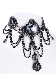 Gothic Victorian Moon Geometry Choker Crescent Moon Jewelry Necklace