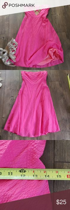 J.crew pink textured strapless party dress Dress it up or down 😍  Pink textured Jcrew strapless dress  Women's size 8  No flaws  Pet free smoke free home J. Crew Dresses Strapless