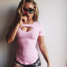 Cute Heart-shaped Hollow Out Sexy Slim Cotton Tee shirts street outfit - Lupsona