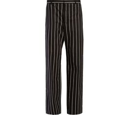 Balenciaga Straight-leg striped trousers ($755) ❤ liked on Polyvore featuring pants, stripe pants, striped trousers, balenciaga pants, balenciaga and straight leg trousers