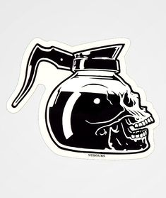 Finish off your skateboard, water bottle and anything else with the Darkness Sticker from N°Hours. This small decal features a skull coffee pot. Sick Drawings, Creepy Drawings, Tattoo Drawings, Skeleton Drawings, Dragon Tattoo Back Piece, Dragon Sleeve Tattoos, Graffiti Doodles, Bottle Drawing, Knuckle Tattoos