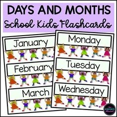 These back-to-school kids flashcards include the days of the week and months of the year. They are provided with three day or month cards per page and have an eye-catching design. Ideal for displays or use with the whole class, groups or individuals. #flashcards
