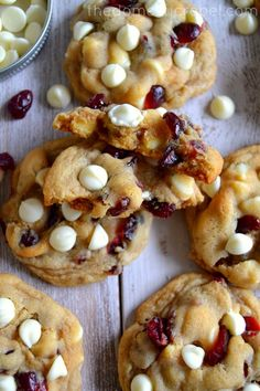 The BEST Soft & Chewy Cranberry White Chocolate Chip Cookies – The Domestic Rebel White Chocolate Cranberry Cookies, White Chocolate Chips, Christmas Baking, Christmas Cookies, Christmas Treats, Christmas Recipes, Cranberry Recipes, Cranberry Sauce, Chocolate Blanco