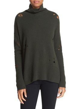 autumn cashmere Distressed Drop Shoulder Mock Neck Sweater available at #Nordstrom