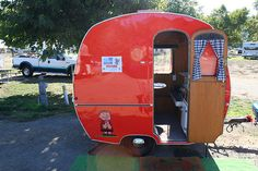 Wagon took us Camping Early German camper - all 6 or 7 feet of it. Great Lucy red and shiny -- perfect for a bug to towEarly German camper - all 6 or 7 feet of it. Great Lucy red and shiny -- perfect for a bug to tow Retro Caravan, Camper Caravan, Retro Campers, Cool Campers, Vintage Campers, Happy Campers, Camper Van, Retro Rv, Small Trailer
