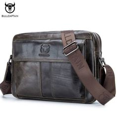 Deal Today $34.90, Buy BULLCAPTAIN Genuine Leather Men Bag Casual Business Man Shoulder Crossbody bags Cowhide Large Capacity Travel Messenger Bags