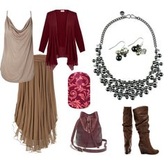 Draped skirt, top, and cardigan with slouched boots, Mialisia Polaris necklace, and Mialisia Aurora earrings http://carolyn.mialisia.com and Jamberry Abby Floral Nails http://woodburn.jamberrynails.net