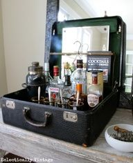 Vintage Suitcase Bar - one of the many vintage finds reimagined at eclecticallyvinta...  Image Source