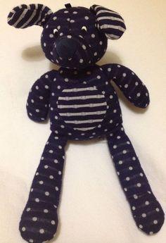 """Jellycat Dotty Spotty Puppy Plush Soft Toy Blue White Dot Stripe Knit Dog 9"""" #Jellycat"""