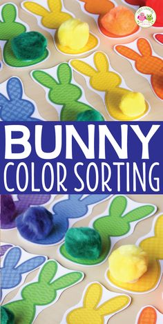 Teach colors with this cute bunny activity. Kids can work on color sorting and matching, size sorting, and one-to-one correspondence with this hands-on Easter activity. Perfect for busy bags, and math centers in preschool, pre-k, and tot school. Activities for you Easter theme, bunny theme, Spring theme, pets theme unit and lesson plans. busy bag for totschool, tot school