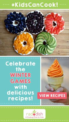 The Winter Games are here. Download kid's recipes for delicious Torch Cupcakes and Colorful Bagels. Raddish is a Cooking Club for Kids!