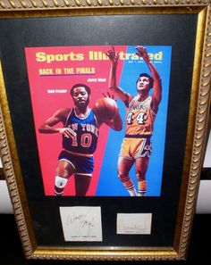 Walt Frazier & Jerry West Autographs framed ~1973 Sports Illustrated Cover Print