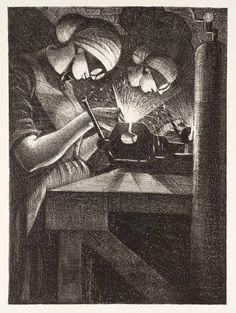 Artist Christopher Richard Wynne Nevinson Title Acetylene Welding From Britain's Efforts and Ideals Date 1917 Medium Lithograph on paper Dimensions Art Prints For Sale, Fine Art Prints, Ww1 Art, Manchester Art, World War One, Art Gallery, Sketches, Ebay, Film