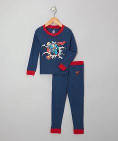 Love this Superman Heather Denim Blue Pajama Set - Toddler by Superman on #zulily! #zulilyfinds