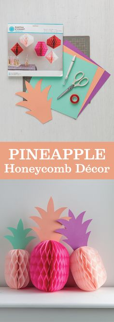 Trim honeycomb décor and cardstock into adorable pineapples for a tropical-themed party!