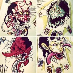 My new japanese fiends :)#instaart #instattoo #artwork #artfortattoo #tattooart #tattooflash #tattoofreakz #japanesetattoo #hannya #demon #tattoo #tattoos #ink #markers #pentelbrushpen #brushpen #ink #inkstagram #tengu #shksprnklv #glrvndtt #flash #tatuaje cositas nuevas :)