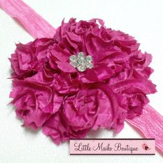 Elegant Raspberry Tattered Flower Headband by littlemaikoboutique, $7.50