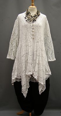 La Bass~ WHITE ~Dramatic ~ Linen lace Asymmetrical Jacket ~ 1XL (16-24) | eBay