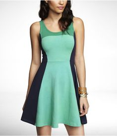 COLOR BLOCK STRETCH COTTON SKATER DRESS | Express