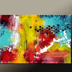$150  Abstract Canvas Art Painting Canvas 36x24 Original by wostudios