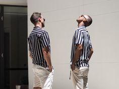 Mens Fashion Style & Outfit inspo by Blogger MR TURNER. Striped ANNEX Shirt from Bondi featuring Sunday Somewhere sunglasses. Menswear. With Chris Burt-Allan of @chrisburtallan blog.