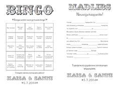Pitsiä & Minttua - Hääblogi: Meidän häät: Hääbingo ja Madlibs Backyard Barn, Bingo, Wedding Inspiration, Wedding Ideas, All Things, Bullet Journal, Wedding Things, Wedding Ceremony Ideas