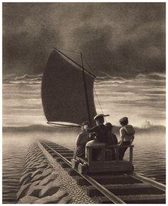 Chris Van Allsburg ilustración con lapices, perspectiva, profundidad, linea de horizonte, movimiento, dirección, realismo, textura. tecnica manual