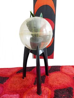 SPECIAL OFFER was $349 now $225 a Large vintage 1960s Mid Century space age domed terrarium herb garden planter greenhouse with a black tripod stand this tripod design you dont see very often. the round globe dome has all the countries etched into the acrylic (this is also rare,