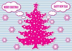 Christmas tree vector pink graphic card design with pink snowflakes. Free download Christmas tree vector in Adobe Illustrator