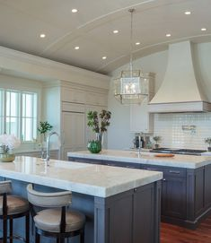 Kitchen Barrel Ceiling and two islands. Farmhouse Style Kitchen, Home Decor Kitchen, New Kitchen, Home Kitchens, Cheap Kitchen, Kitchen Furniture, Kitchen Ideas, Luxury Interior Design, Interior Design Kitchen