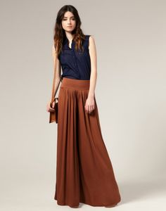 Love this look - navy top with burnt orange palazzo pants!