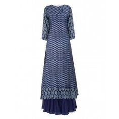 Block Printed Indigo Blue Tunic with Skirt