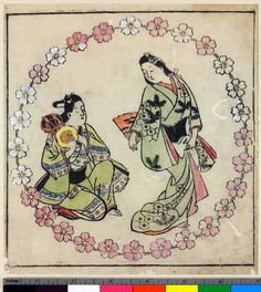 Woodblock print, album leaf. Music, dance and drama. Dancer with a male drummer in a flower roundel. From an untitled album. Beni-e on paper.