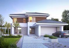 Projekt domu piętrowego Wyjątkowy 3 o pow. 203,5 m2 z obszernym garażem, z dachem wielospadowym, z tarasem, z wykuszem, sprawdź!