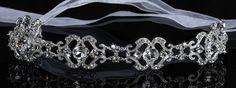 En Vogue Bridal Silver & Crystal Headband with Organza Ties HB204 - En Vogue Bridal Tiaras - Bridal Veils - Bridal Hair Pins