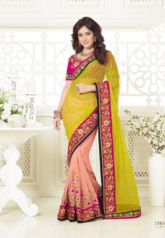 Yellow with Peach Colored Half and Half Pure Net Saree with