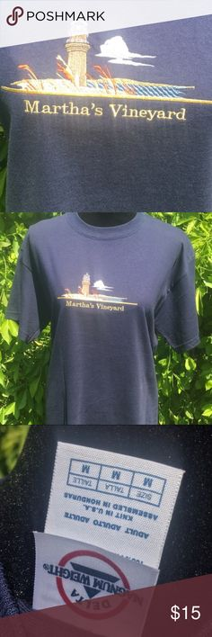 Martha's Vineyard navy medium tourist t- shirt This shirt is in like new condition. Do you know anyone who would love to go to Martha's Vineyard ? This shirt is for them. Lighthouse. Summer. Tourist. Souvenir. Souvenir  Tops Tees - Short Sleeve