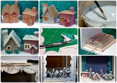 How to make a miniature Christmas village in a shadow box -- would love to do this with a nativity scene for mama.