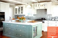 Painted white cabinets with accent color on island.  GREAT idea. I'm doing this!
