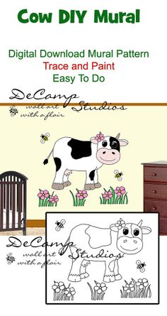 DIY Do It Yourself Barnyard Cow Wall Art Mural for baby girl nursery or kids room decor. Trace and Paint By Number. Also great for church nursery, childcare, pediatric office, and preschool #decampstudios