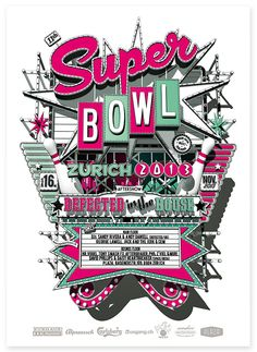 """SUPERBOWLevery year there is an event in zurich called superbowl. and obviusly this is an bowling event. it's a very hipster bowling event because it's only for the """"how is how"""" from the zurich night and gastronomy scene :) i very happy to do this poster… Typography Letters, Lettering, Street Signs, Zurich, Bowling, Super Bowl, 2d, Behance, Calligraphy"""