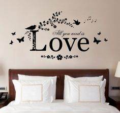 All You Need Is Love, Vinyl Wall Art Sticker, Decal Mural, Diamantes/Pearls