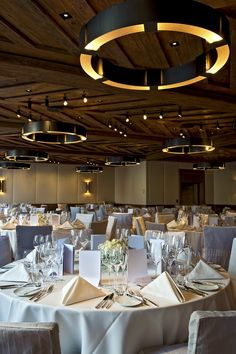 HBA London for Alpina Gstaad Hotel | Switzerland  Alpine chic, ballroom, brabbu, brabbu news, contemporary wall lamps, craftsmanship, fir wood, HBA London for Alpina Gstaad Hotel, interior design trends, luxury hotel, rustic timber forms, Swiss Alps | Know more about VELLUM wall lamp http://www.brabbu.com/en/lighting/vellum-wall-lamp.php